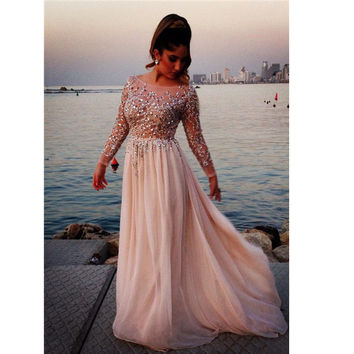 Long Prom Dress With Sleeves Prom Dresses Party Gown pst0573