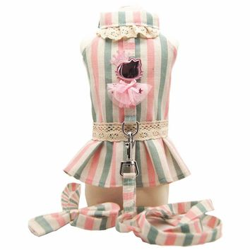 Cute luxury dog princess tutu dress skirt dog lover clothes shirt vest small Pet Cat dog Harness vest and Leash receiver collar Leads