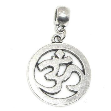 "AUGUAU Jewelry Monster Antique Finish ""Dangling Om Symbol"" Charm Bead for Snake Chain Charm Bracelet 21684"