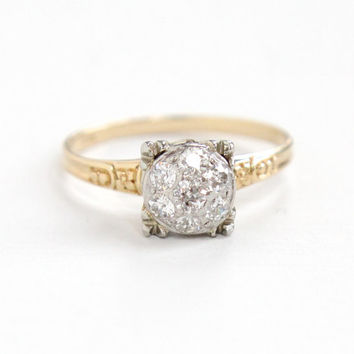 Antique 14k Yellow & White Gold 1/2 CTW Diamond Cluster Ring - Art Deco 1930s Old European Cluster Flower Shoulders Engagement Fine Jewelry