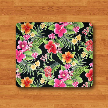Hawaiian Floral Black Mouse Pad Tropical Hawai Flower Drawing MousePad Office Desk Deco Personalized Natural Soft Fabric Rubber Teacher Gift