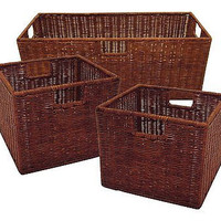 3 Winsome Wicker Walnut Set Storage Living Room Baskets Books Toys Large Free