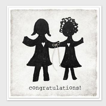 Mrs. & Mrs., Congratulations Card, Lesbian, Wedding Card, Wedding Invitation, Engagement Card, Tie the Knot, Printed on Crane Paper
