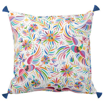 Otomi Pillow with tassels, Multi Color, Print on Linen and Cotton Fabric
