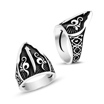 Alif letter monogram sterling silver archery mens ring