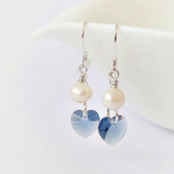 Heart earrings, Swarovski crystal & freshwater pearl dangle earrings, denim blue white tiny earrings, minimalist jewelry