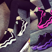 2015 Fashion Womens Casual High Top Sport Sneakers Athletic Running Shoes Thick