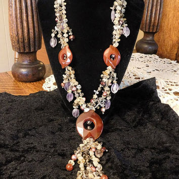Statement Necklace Carnelian Agate Medallions Keshi Pearls Pink Amethyst Citrine Smoky and Crystal Quartz Boho Chic Gypsy Bohemian Style