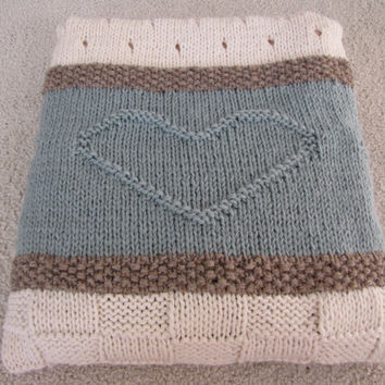 Seaside Blanket Pattern - knit blanket, knit throw - PDF blanket pattern - heart blanket, throw pattern