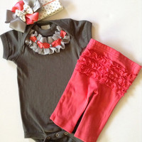 Newborn take me home Baby girl coral pant outfit with polka dot bow beanie grey ruffled bodysuit