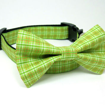 Green Plaid  Dog Collar  with bow tie set(Mini,X-Small,Small,Medium ,Large or X-Large Size)- Adjustable