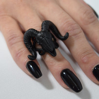 Ram Skull and Arsenic Symbol Gothic Occult Ring