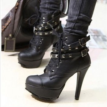 New Fashion womens winter pumps motorcycle ankle wintage fashion high heels gladiator balck buckles boots