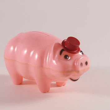 Vintage Plastic Pink Piggy Bank With Red Top Hat