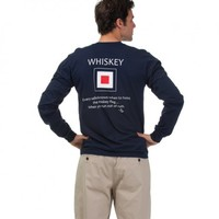Whiskey Flag Long Sleeve Tee Shirt in Navy by Anchored Style