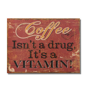 """Decorative Wood Wall Hanging Sign Plaque """"Coffee Isn't A Drug"""" Red Gold Home Decor"""