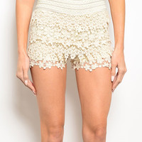 Ivory Crochet Tier Shorts | zulily