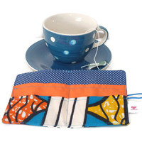 Tea Wallet in African fabric / OrangeTea Carrier / Blue Tea Bag Holder / Travel Tea Bag / Tea Organizer / Teabag wallet