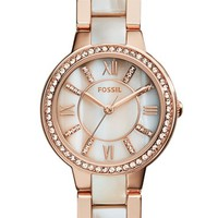 Women's Fossil 'Virginia' Resin Link Crystal Bezel Bracelet Watch, 30mm
