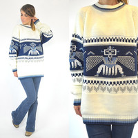unisex KACHINA doll hopi knitted NATIVE AMERICAN tribal oversized sweater jumper, extra small-large