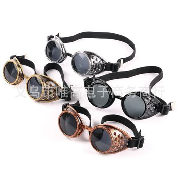 JUANBO 2017 Retro Round Cosplay Sunglasses  Steam punk circle glasses  goggles party glasses Ride protective Cool Men Glasses