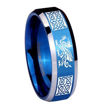 10mm Multiple Dragon Celtic Beveled Edges Blue 2 Tone Tungsten Men's Bands Ring