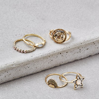 AEO GOLD STAR RING 5-PACK, Gold