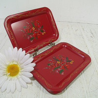 Antique Miniature Red Metal Trays MultiColor Floral Bouquets - Vintage ToleWare Tip Trays Collection of 4 Shabby Chic / BoHo Bistro Display
