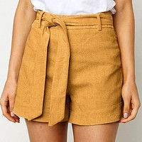 Solid Color Shorts Women Casual Holiday Sashes Thin Shorts Female High Waist Stylish Shorts