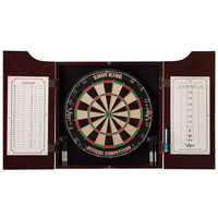 All-in-One Dart Center with Dart Board and Mahogany Finish Cabinet