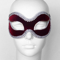 Burgundy And Silver Masquerade Mask - Velvet Covered Venetian Style Mardi Gras Mask