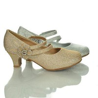 Maggie5 Silver Glitter By Lucky Top, Children Girls Mary Jane Rhinestone Flower Studded Low Heel Pump