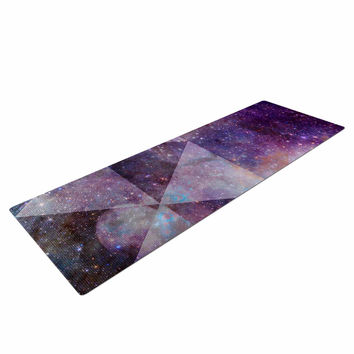 "Suzanne Carter ""Geometric stars"" Purple Black Yoga Mat"