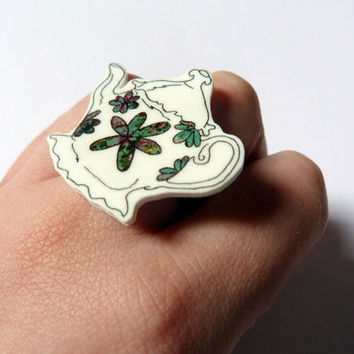 TeaPot Flower ring small shrink plastic  hand by Floralchic