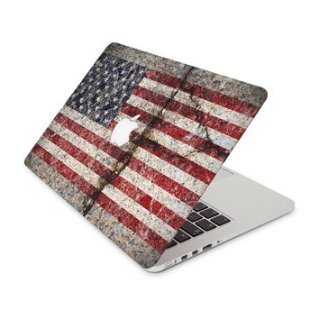 Rustic Cracked Concrete American Flag Skin for the Apple MacBook