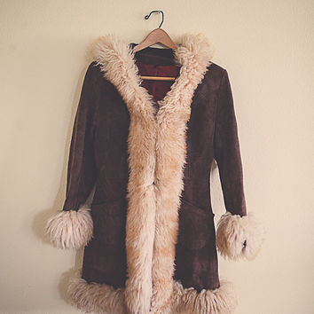 70's Brown Suede Leather Coat Fur Collar Fur Cuffs  Jacket Alpaca Fur  Sherpa Lined Bohemian Boho  Size Women's Size Medium M