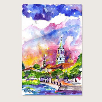 Charleston South Carolina View of Waterfront Park and St Michael Church  ORIGINAL Painting by Ginette