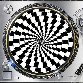 Trippy CheckerBoard Spiral 12 inch  Slip mat Turntable Vinyl decor Record collection DJ audiophile 16 ounce Slipmat x1