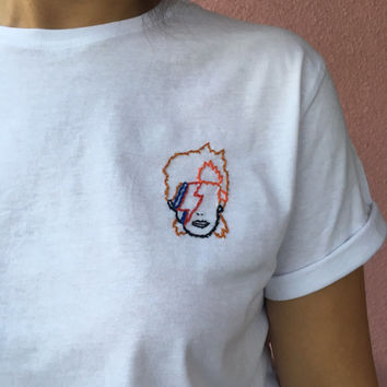 David Bowie tee - hand embroidered tshirt - embroidery
