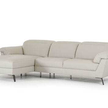 Divani Casa Edelweiss Modern Light Grey Eco-Leather Sectional Sofa