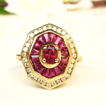 Art Deco Style Ruby & Diamond Ring Unique Octagonal Shaped Alternative Engagement Ring 14K Gold Diamond Wedding Ring Size 8
