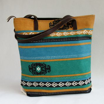 Large CANVAS TOTE / SHOULDER Bag with Leather Handles
