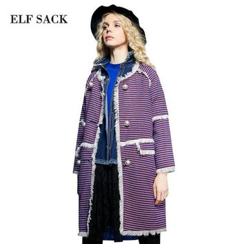 Elf SACK grass p taste of autumn female vintage pearl button flash wool coat outerwear female long design
