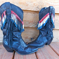 Fringe Laredo Black Cowboy Boots - Hand Painted Red White and Blue - Size 6.5 M - Super Cute