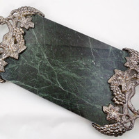 """Godinger Marble Tray 18"""", Newer Vintage Tray by Godinger Silver Art Co Ltd., Green Marble Slab with Silver Plated Grapes and Leaves Handles"""