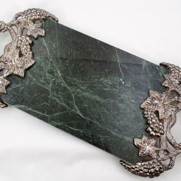 "Godinger Marble Tray 18"", Newer Vintage Tray by Godinger Silver Art Co Ltd., Green Marble Slab with Silver Plated Grapes and Leaves Handles"