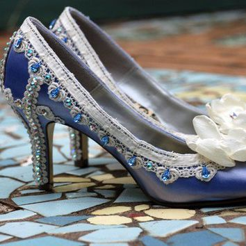 Blue Wedding ShoesWedding Shoes by TheCrystalSlipper on Etsy