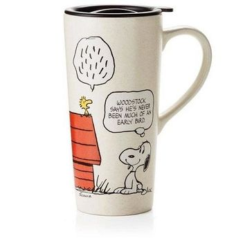 Snoopy and Woodstock Early Bird Travel Mug 16 oz.