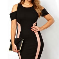Plus Size Black Cut-out Shoulder Bodycon Dress