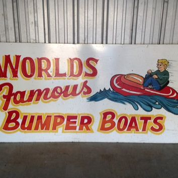 Mid-Century Amusement Park Ride Sign Bumper Boats